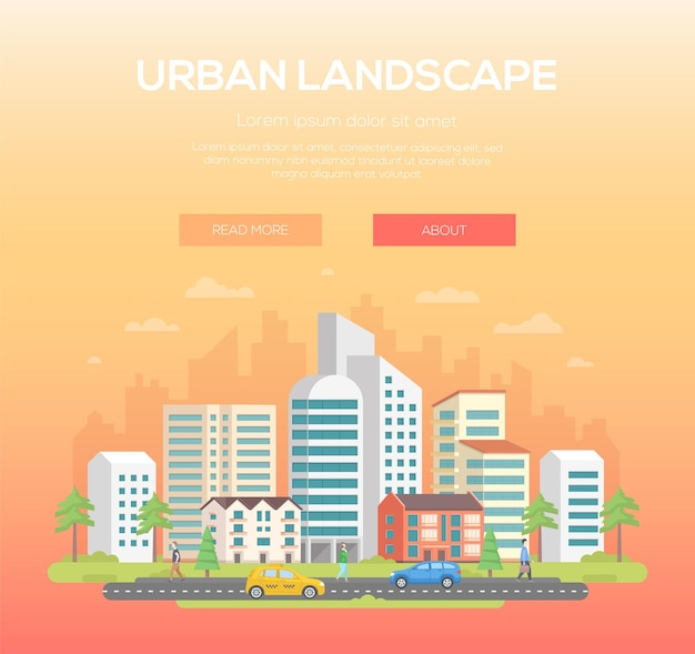 Krajobraz miejski - nowoczesne ilustracji wektorowych z miejscem na tekst na jasnopomarańczowym tle. ładne miasteczko, miasto z drapaczami chmur i małymi, niskimi budynkami, drzewami, ludźmi, samochodami, chmurami na niebie
