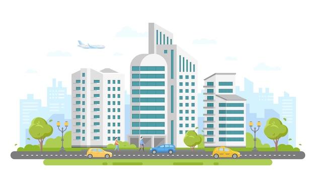 Krajobraz miejski - nowoczesne kolorowe płaskie wektor ilustracja na białym tle. piękny kompleks mieszkaniowy z drapaczami chmur, drzewami, samochodami na drodze, spacerowiczami, samolotem na niebie, drzewami, latarniami