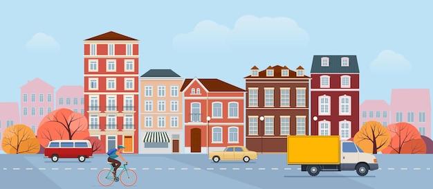 Krajobraz miejski scena uliczna z budynkami mieszkalnymi i transportem miejskim na ulicy