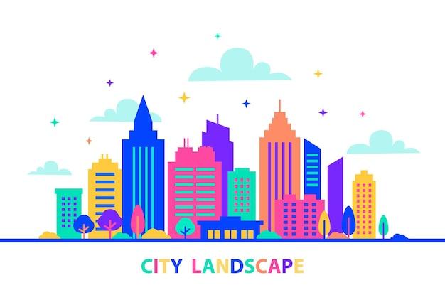Krajobraz miejski sylwetki budynków z neonowym blaskiem i żywymi kolorami