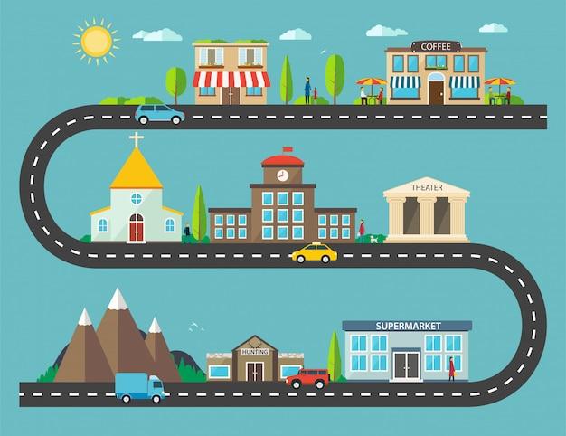 Krajobraz miejski w płaskiej konstrukcji. życie w mieście z nowoczesnymi ikonami budynków miejskich i podmiejskich
