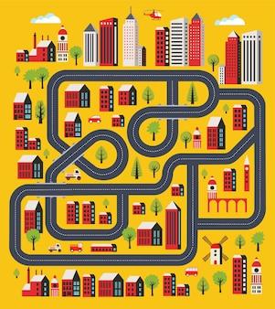 Krajobraz miejski w stylu płaski z domów