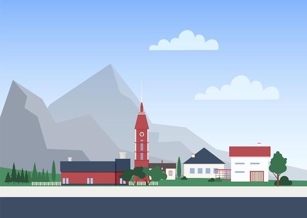 Krajobraz miejski z miastem z budynkami mieszkalnymi, wieżą kaplicową i drzewami