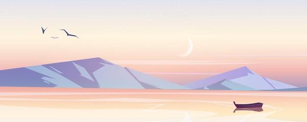 Krajobraz morski z górami w godzinach porannych