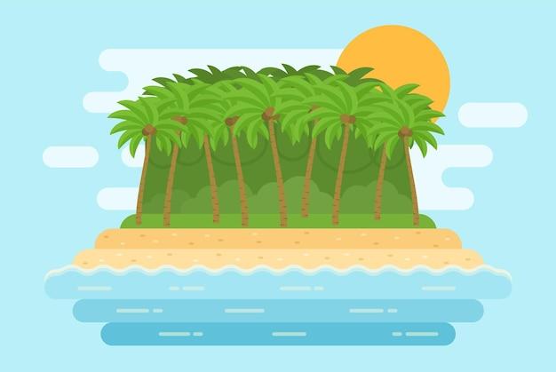 Krajobraz morski z piaszczystą plażą, palmami, wyspą w płaskiej konstrukcji. natura krajobraz poziomy tła