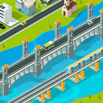 Krajobraz mostu miejskiego. budynek kładka pieszy samochód wiadukt wiadukt drogowy izometryczny krajobraz