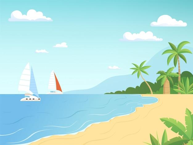 Krajobraz nadmorski. letnia plaża z palmami żaglówki przygoda kreskówka tło zewnątrz
