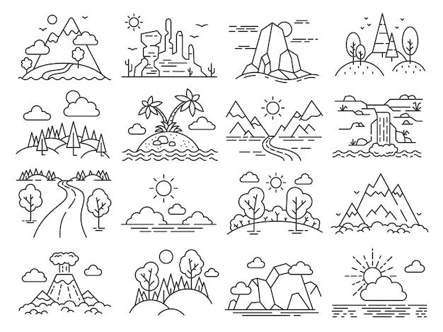 Krajobraz natura linia. drzewa leśne, góry, tropikalna wyspa morska, pustynia i wulkan. przygoda na świeżym powietrzu i turystyka zarys wektor zestaw ikon. ilustracja krajobraz środowiska, rysunek lasu przyrody