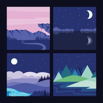 Krajobraz nocny księżyc w górach jezioro