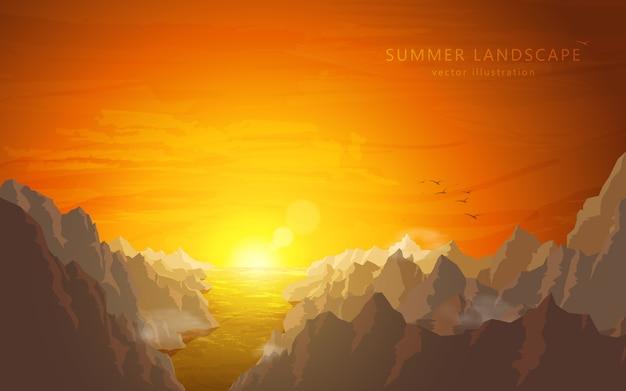 Krajobraz o zachodzie słońca: rzeka i góry
