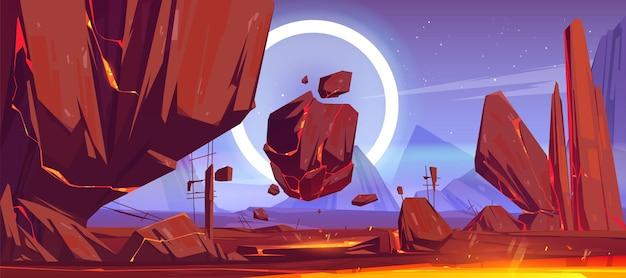 Krajobraz obcej planety z górami, latającymi skałami i czerwoną lawą w pęknięciach.