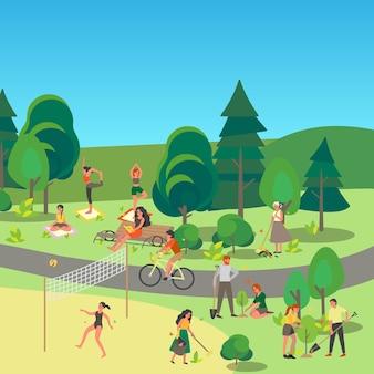 Krajobraz parku miejskiego. osoby lubiące spędzać czas na świeżym powietrzu, uprawiać sport i odpoczywać w miejskim parku. letnia aktywność, piknik w parku. letnia sceneria z niebieskim niebem.