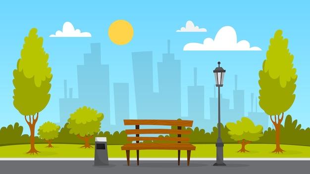 Krajobraz parku miejskiego. zielona trawa, ławka i drzewa