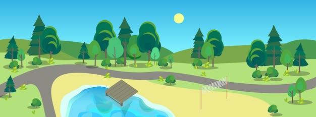Krajobraz parku miejskiego. zielona trawa, staw i drzewa. letnia sceneria z niebieskim niebem. chodnik w parku.