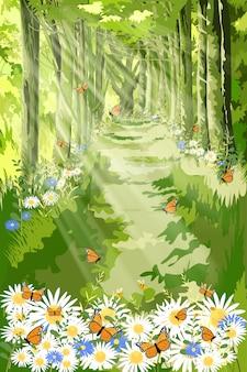 Krajobraz piękna ilustracja natury z promieniami słońca świecącymi w porannym lesie, kreskówka fantasy zielonego lasu z motylem i pszczołą latającą nad polem stokrotki