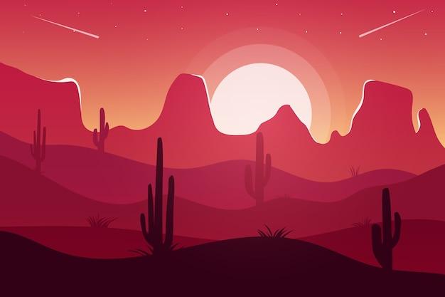 Krajobraz piękna pustynia pomarańczowy po południu
