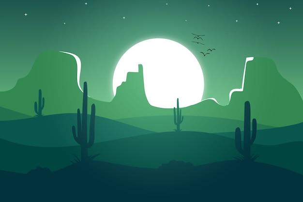 Krajobraz piękna zielona pustynia z jasnym światłem