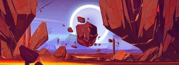 Krajobraz planety ze skałami i lawą w pęknięciach