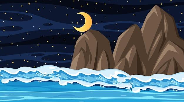 Krajobraz plaży w nocnej scenie z falą oceanu