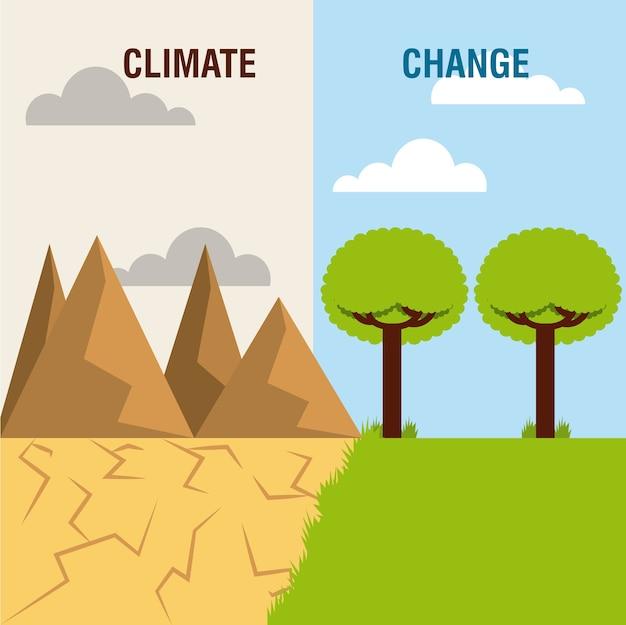 Krajobraz podzielony na zieloną scenę i pustynne górskie zmiany klimatyczne