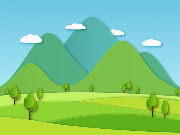 Krajobraz pola papieru. letni krajobraz z zielonymi wzgórzami i błękitnym niebem, białe chmury. obraz kreatywnej natury z warstwami papieru