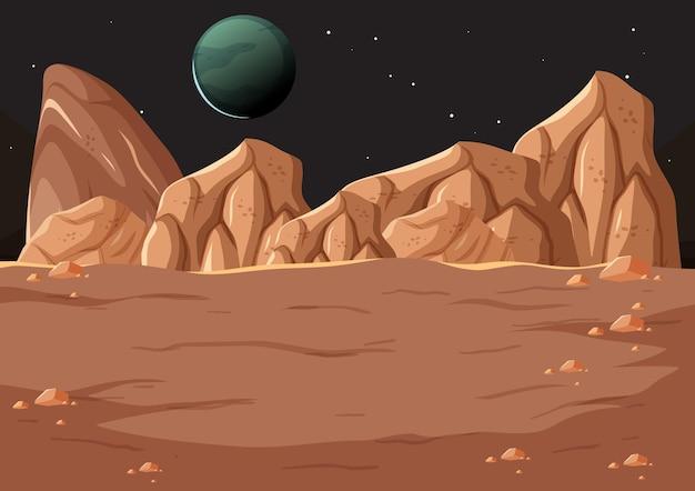 Krajobraz powierzchni kosmosu z planetą