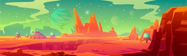 Krajobraz powierzchni marsa z bazą kolonii
