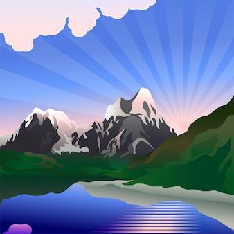 Krajobraz przedstawia wschód słońca nad górskim jeziorem