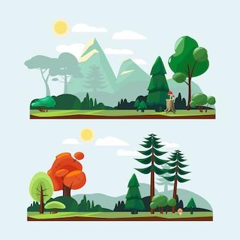 Krajobraz przyrody. ilustracje do parku w ogrodzie