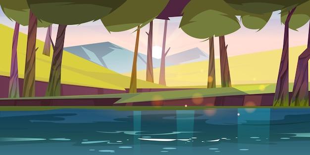 Krajobraz przyrody stawu leśnego, spokojne jezioro lub przepływ rzeki pod zielonymi drzewami i skałami na początku różowy poranek. dziki piękny widok na scenerię, letnie drewno o wschodzie słońca kreskówka tło, ilustracji wektorowych