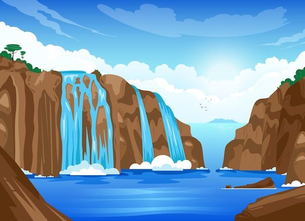 Krajobraz przyrody z wodospadami płynącymi od plakatu z kreskówki klifu do płaskiej ilustracji górskiego jeziora .