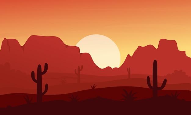 Krajobraz pustyni o zachodzie słońca w meksyku, teksasie lub arisonie, sucha sceneria ze skałami i górami