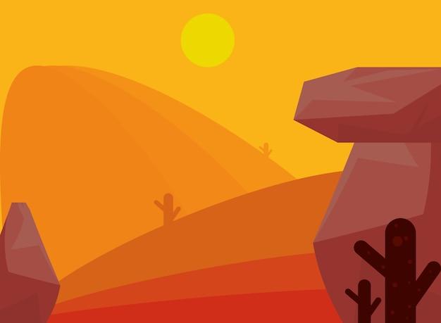 Krajobraz pustyni skały kaktus i słońce scena tematyczna