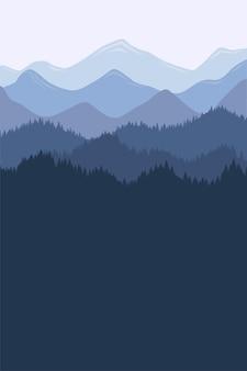 Krajobraz rano pasmo górskie z mgły i lasu. wschód i zachód słońca w górach wektorowa ilustracja pionowa