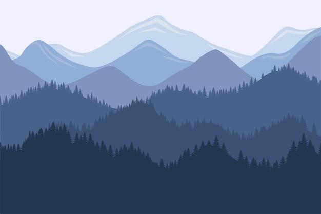 Krajobraz rano pasmo górskie z mgły i lasu wschodem i zachodem słońca w górach wektor
