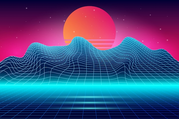 Krajobraz retro futurystyczne tło