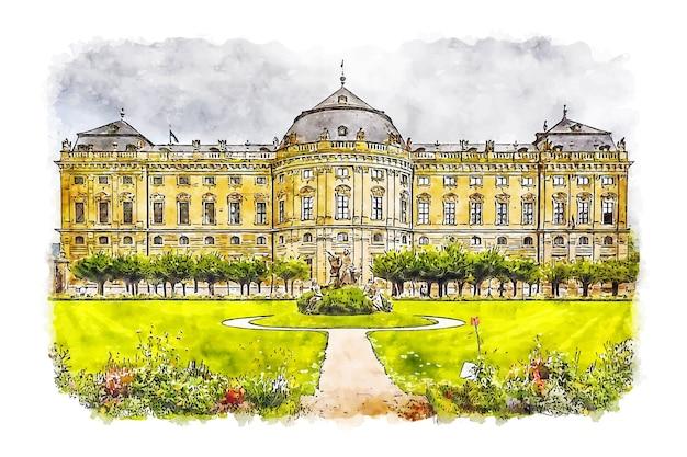 Krajobraz rezydencja wurzburg niemcy szkic akwarela ręcznie rysowane ilustracji