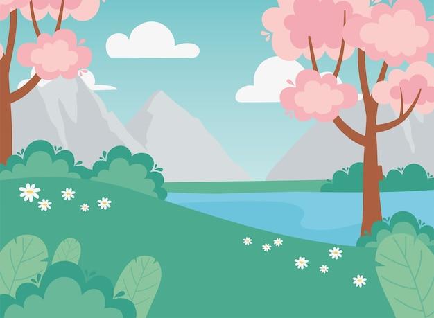 Krajobraz różowe drzewa kwiaty jezioro krzew łąka góry ilustracja