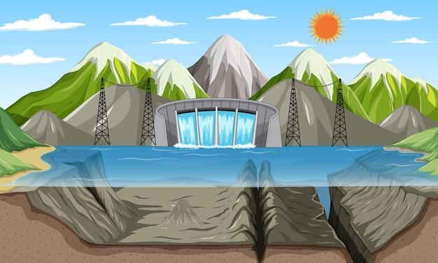 Krajobraz sceny przyrody z podwodnym jeziorem i górami w tle