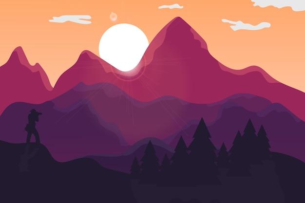 Krajobraz słońce zapada w pięknym