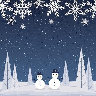 Krajobraz śniegu szczęśliwego nowego roku szablon tło z życzeniami wakacje