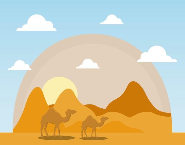 Krajobraz sucha pustynia z wielbłądami