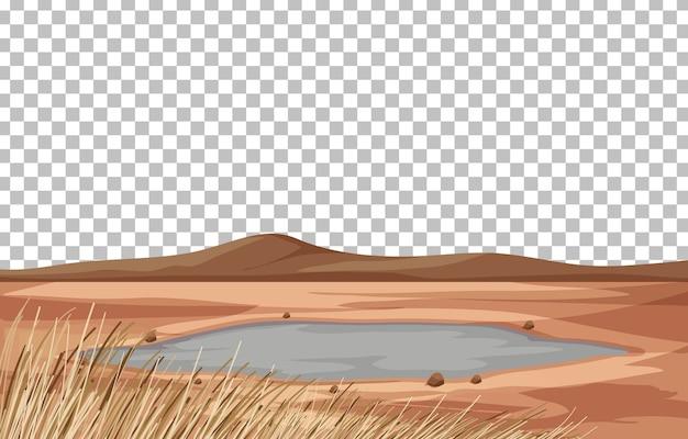 Krajobraz suchej ziemi na przezroczystym