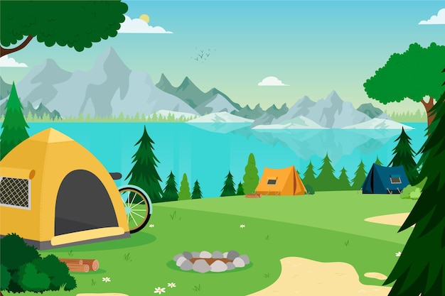 Krajobraz terenu kempingowego z namiotami