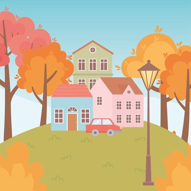 Krajobraz w jesiennej scenie przyrody, domy samochodowe drzewa lampy uliczne na łące
