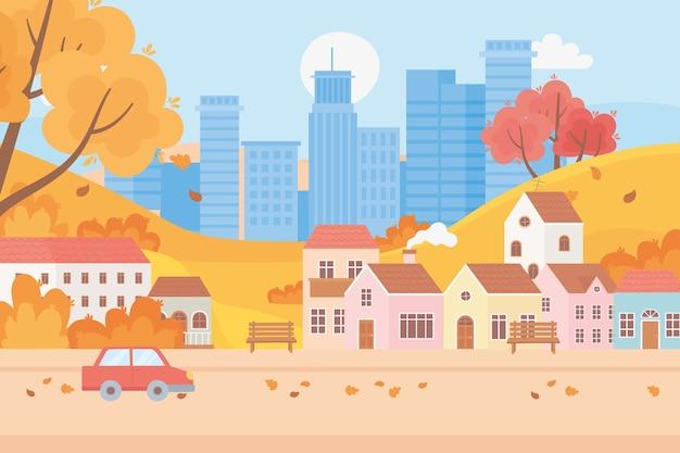 Krajobraz w jesiennej scenie przyrody, pejzaż miejski i podmiejski domy drzewa samochodowe opuszczają ulicę