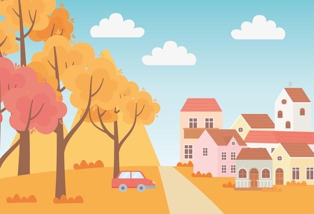 Krajobraz w jesiennej scenie przyrody, podmiejskie domy samochód drzewa trawa niebo kreskówka