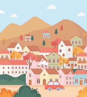 Krajobraz w jesiennej scenie przyrody, wioska mieści domek na wzgórzach, drzewa i samochód animowany