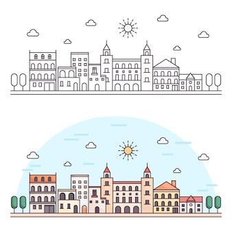 Krajobraz w nowoczesnej płaskiej linii. ilustracja krajobraz cienka linia.