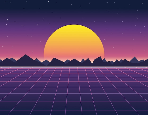 Krajobraz w stylu retro, futurystyczne tło z lat 80